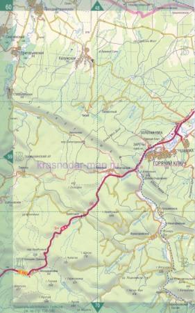 Автомобильная карта Краснодарского края - город Горячий Ключ.